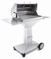 THÜROS T4 Holzkohle Barbecue Station; fahrbar Grillfläche 40 x 60 cm